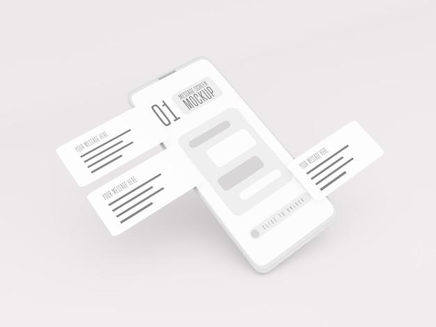 Концепция обмена сообщениями на макете мобильного телефона