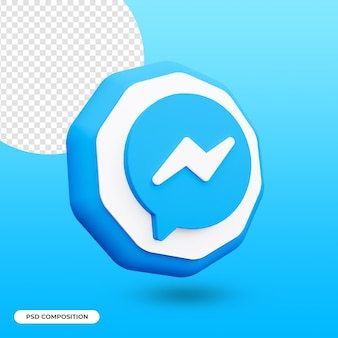 3d 렌더링에서 격리 된 메신저 앱 아이콘