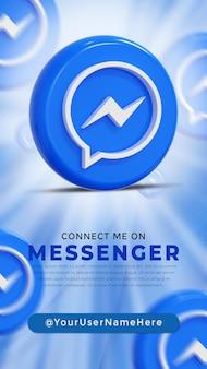 Messenger  glossy logo and social media icons story