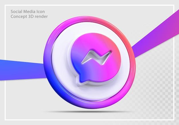메신저 소셜 미디어 아이콘 3d 렌더링 개념