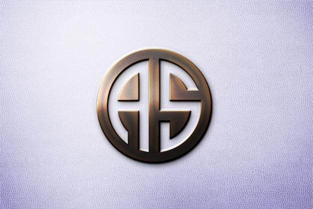 Metal 3d logo mockup on wall