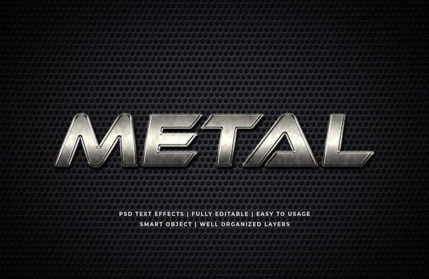 Metal 3d text style effect mockup