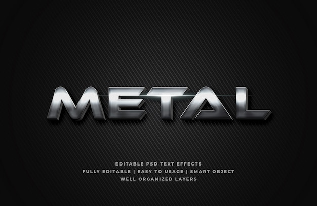 Metal 3d text style effect