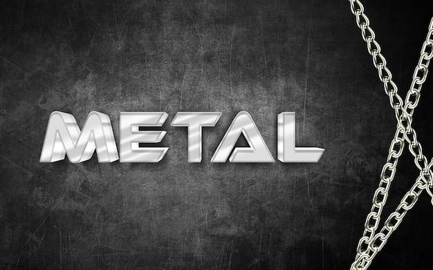 Металл 3d эффект стиля текста