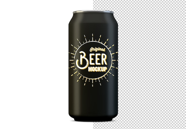 Metal beer can mockup isolated
