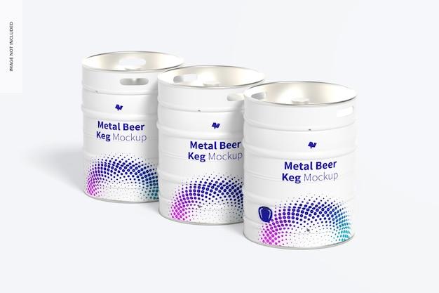 Metal beer kegs mockup