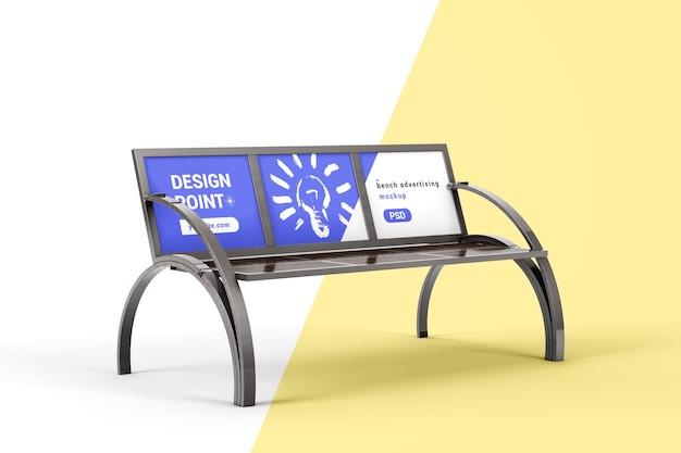 Металлическая скамейка с макетом рекламного щита