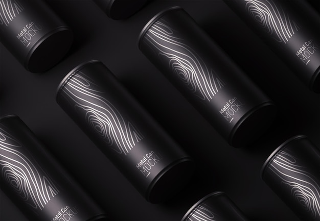 Metal black can packaging pattern mock-up