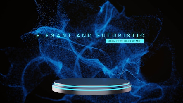 Metal blue neon podium with scifi particle