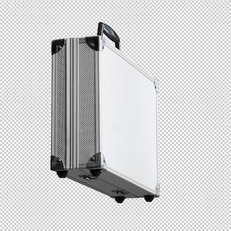 白い背景の上の金属製のブリーフケース