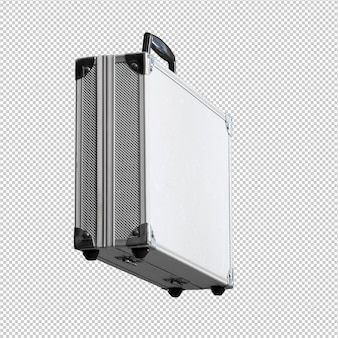 Metal briefcase over white background