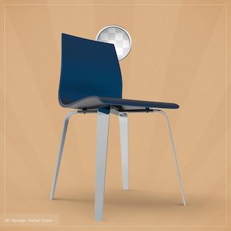 金属製の椅子の3dレンダリング