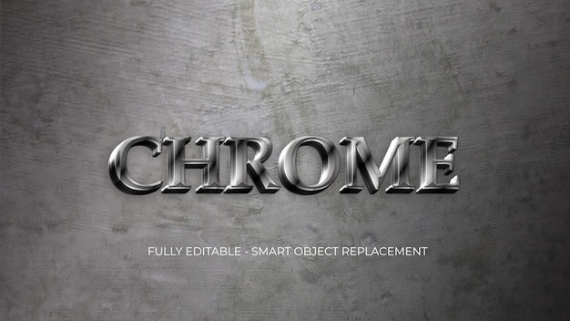 Metal chrome  text style template