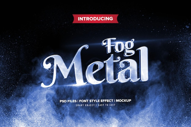 Metal fog text effect template