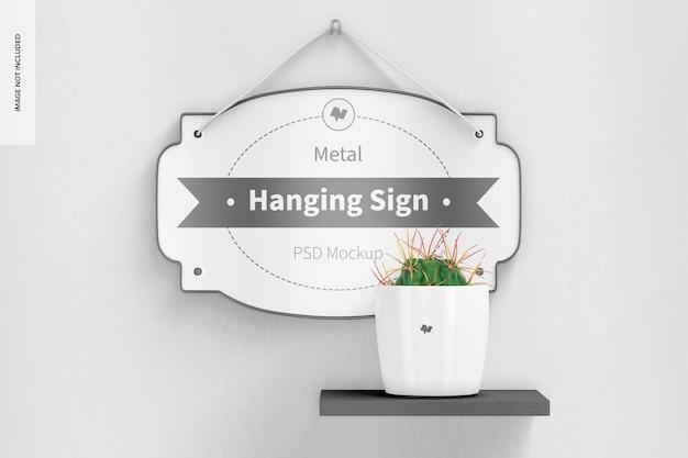 Metal hanging sign mockup, front view 02