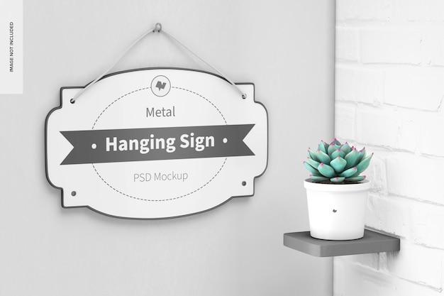 Cartello da appendere in metallo con mockup di piante
