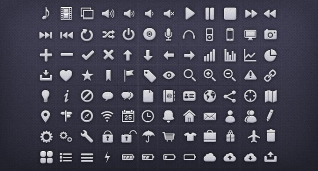 Metal interface icons pack psd