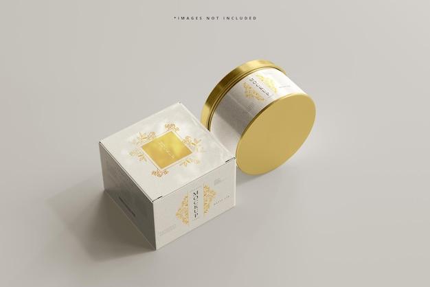 금속 항아리와 상자 모형