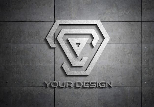 Metal logo on plate wall mockup