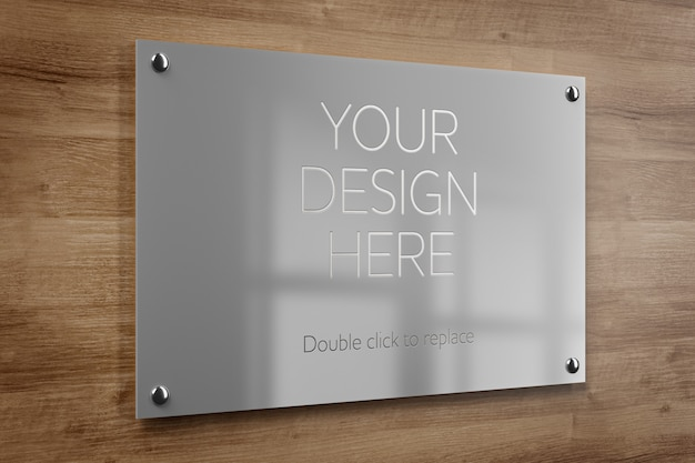 Metal office plate mockup