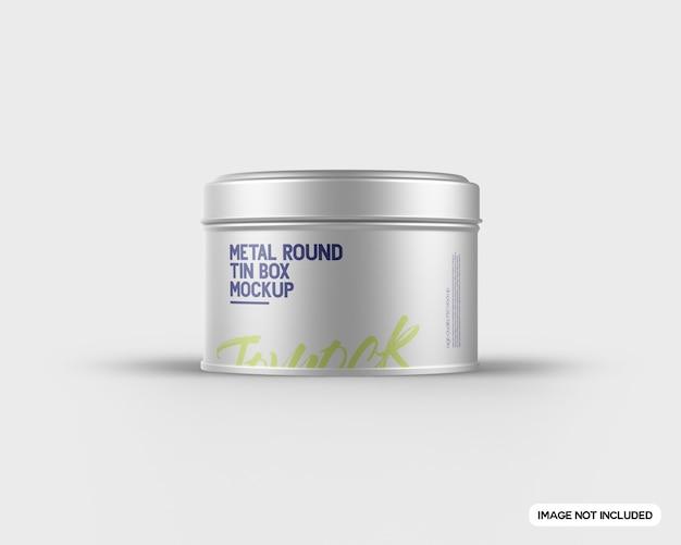 Metal round tin box mockup