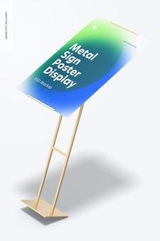금속 사인 포스터 바닥 디스플레이 목업, 떨어지는