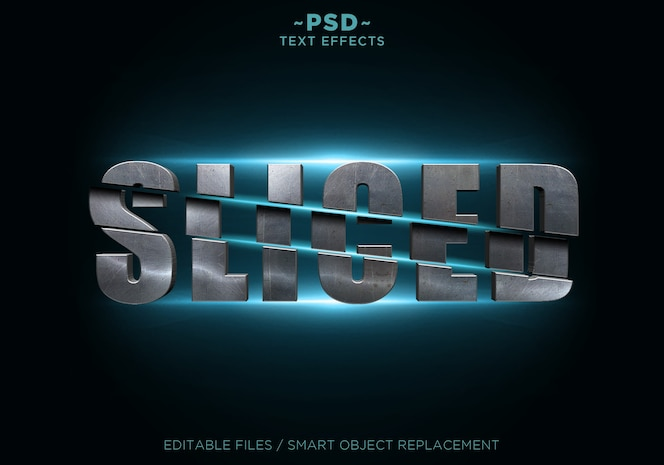 metal sliced effects text template