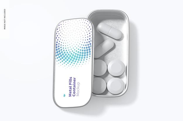 Metal slide top tin pills container mockup, top view