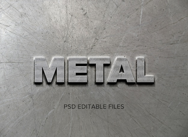 Metal text style effect mockup