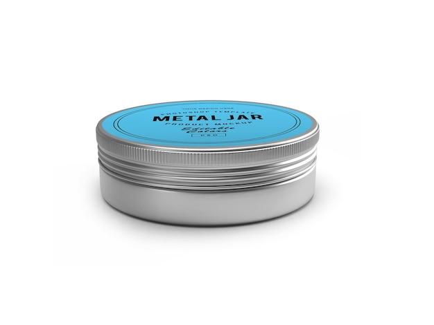 Metal tin jar 3d mockup design in 3d rendering