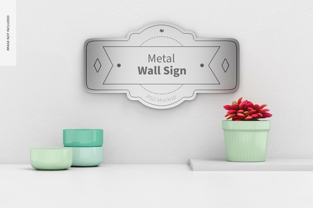 Mockup di insegna da parete in metallo, vista frontale