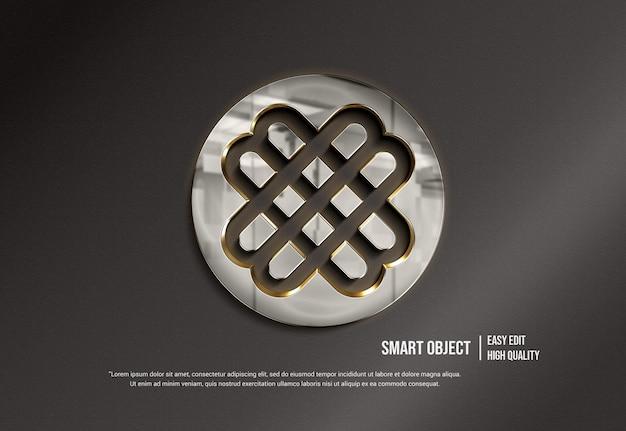 Металлический 3d-макет логотипа с отражением