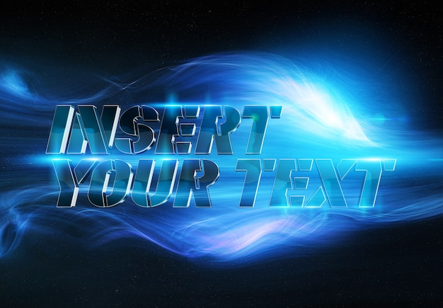 Metallic 3d text effect in blue smoke energy mockup