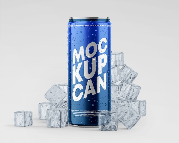 Metallic can mockup with drops and ice