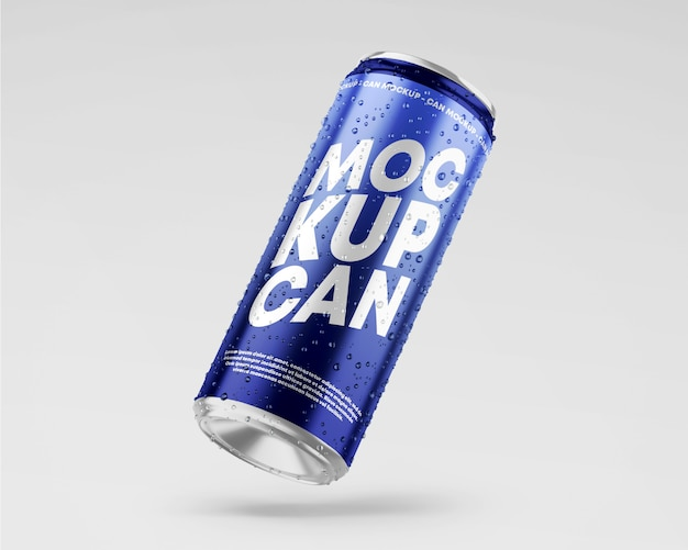 Metallic can mockup with drops