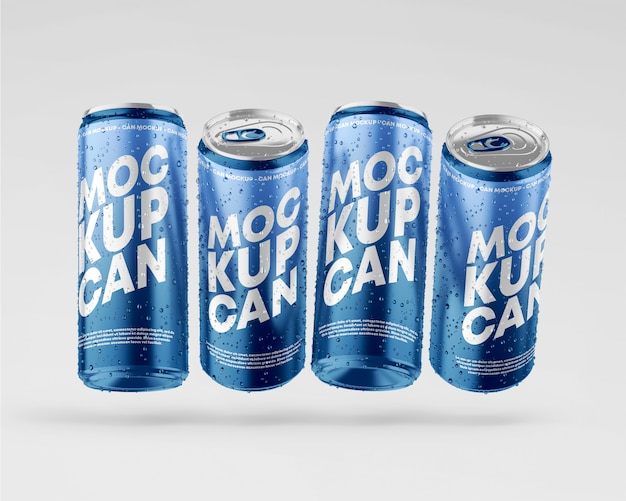 Metallic cans mockup with drops set
