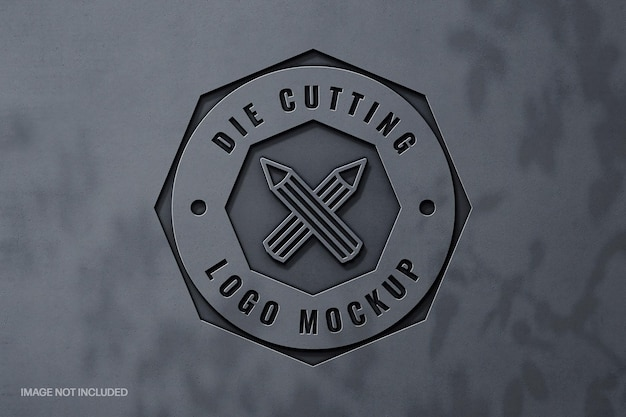 Metallic carved logo mockup with shadow overlay