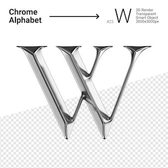Металлический хром алфавит буква w изолированные