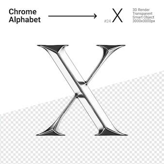 Металлический хром алфавит буква x изолированные