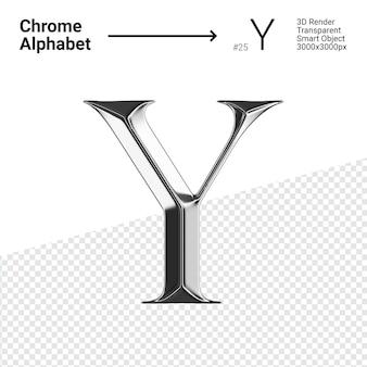 Металлический хром алфавит буква y изолированные