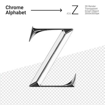 Металлический хром алфавит буква z изолированные