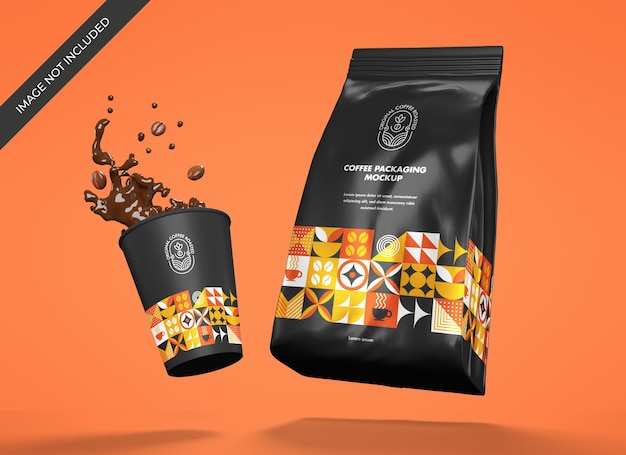 Metallic coffee pouch mockup with cup