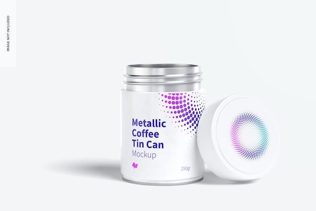 プラスチック製の蓋のモックアップ付きメタリックコーヒー缶、開封