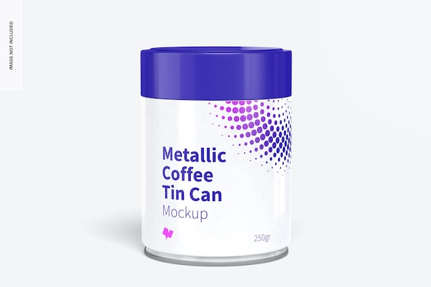 プラスチック製の蓋のモックアップ付きメタリックコーヒー缶
