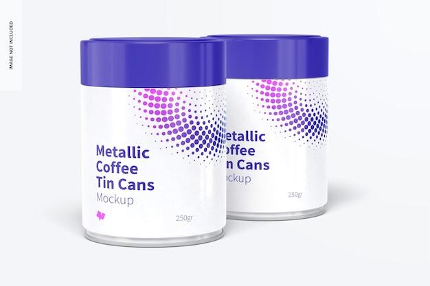 プラスチック製の蓋のモックアップ、閉じた金属製のコーヒー缶