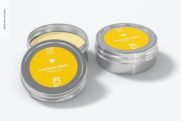 Мокап упаковки металлического косметического бальзама, открытый и закрытый