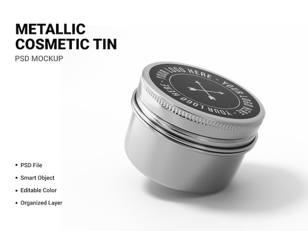 Metallic cosmetic tin mockup rendering