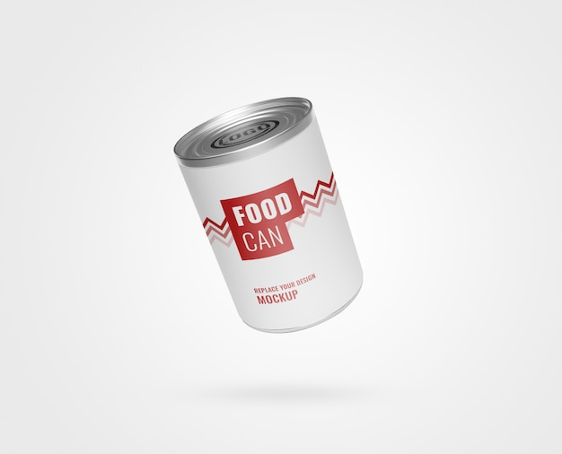 Metallic food can mockup