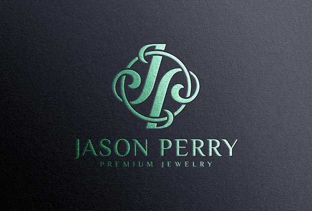 Мокап с логотипом из металлической зеленой фольги