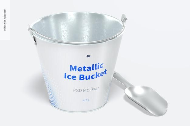 Металлический мокап ведра для льда, вид спереди